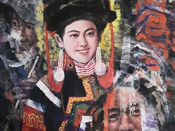 中国彩墨画新立体表现主义——何雨春56个民族系列作品《彝族》