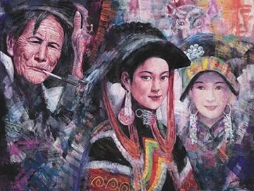 画家何春雨笔下的彝族人像绘画作品