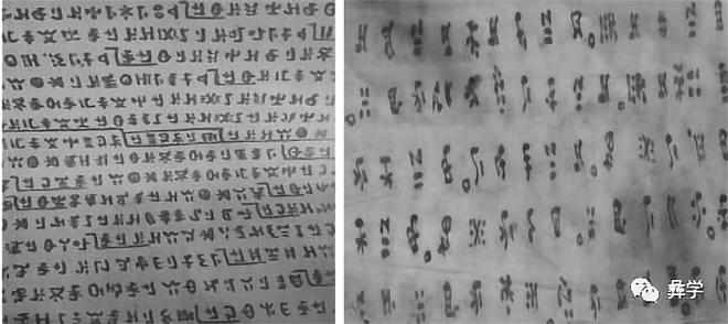 图6:诺苏经籍中的段落章节符号和断句符号 (摩瑟磁火摄)